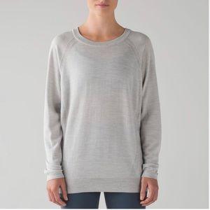 Lululemon Rising Salutation Sweater Heathered Vapor sz 6 grey